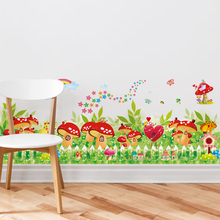 [shijuekongjian] Colorful Mushroom Baseboard Sticker Cartoon Decorative Wall Art for Living Room Kindergarten Decoration