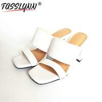 TASSLYNN 2018 Open Toe Summer Sandals Elegant Cow Leather /PU Women Shoes High Square Heels White Wedding Shoes Size 34 39