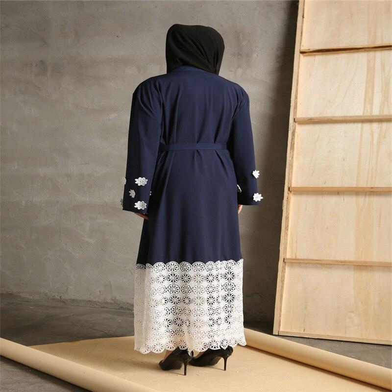 Povremni musliman Maxi haljina čipka patchwork dugi rukav vestidos - Nacionalna odjeća - Foto 4