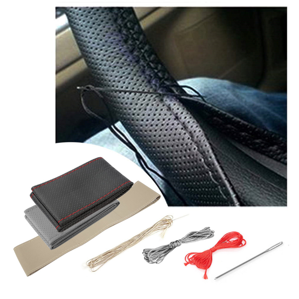 36-38 cm diy tampa do volante do carro fibra de couro com agulha trança no volante skidproof car styling accessorie interior