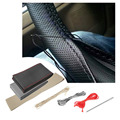 36-38cm DIY Car Steering Wheel Cover Fiber Leather with Needle Braid on Steering Wheel SkidProof Car Styling Interior accessorie