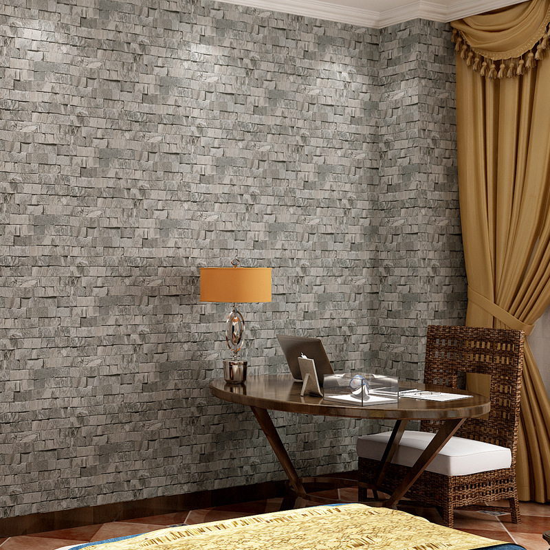 3d Stone Wallpaper PVC Small Brick Pattern Chinese Restaurant Bar Clothing Store Bricks Brick Wallpaper Nostalgia Wall Paper chinese retro personalized brick pattern wallpaper restaurant restaurants hotels dedicated wallpaper