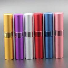 Atomizador de vidrio para Perfume, botella de viaje vacía de aluminio anodizado rellenable, 15ml, funda de bomba, 50 unids/lote