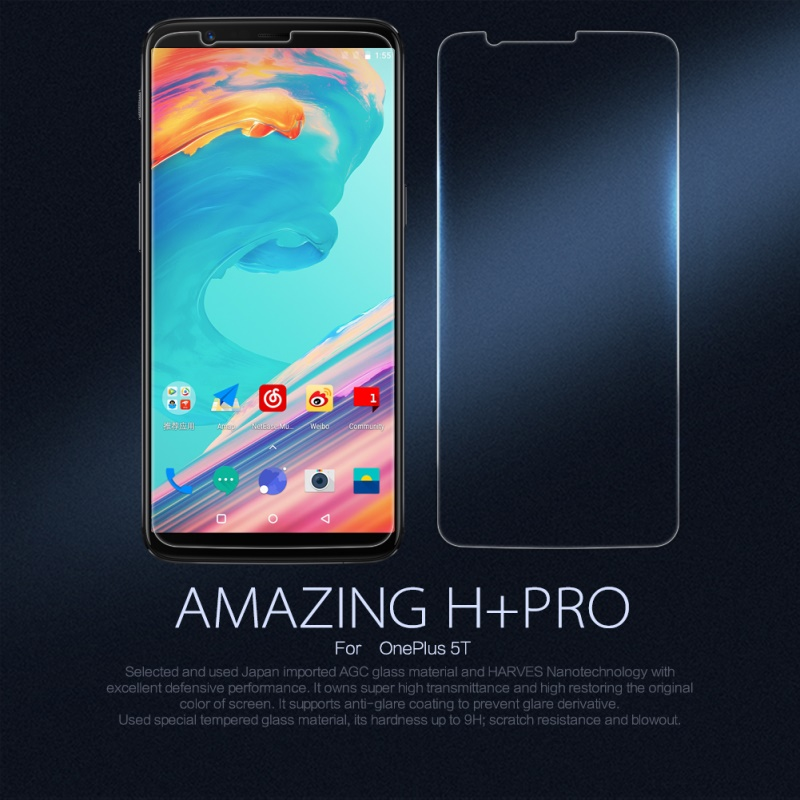 NILLKIN Amazing H PRO For OnePlus 5T Tempered Glass Screen Protector Nanometer Anti Explosion For OnePlus