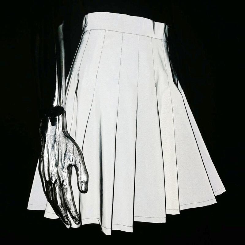 Пикантные вечерние ночной клуб Светоотражающие плиссированные юбки женские Молния сзади тренировки Bodycon флуоресцентный зеленый Высокая Талия юбки