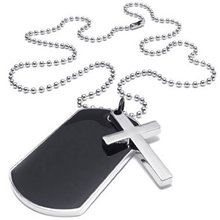 Jewelry Men's Ladies Necklace, Military Cross Markers Army Style Dog Tag Pendant with 68cm Chain