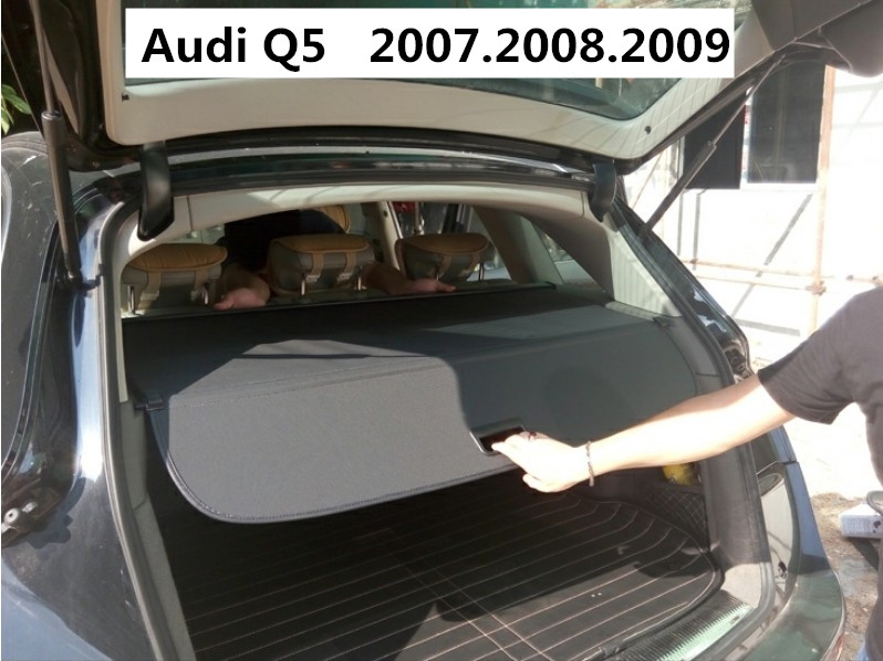 Car Rear Trunk Security Shield Cargo Cover For Audi Q5 2007.2008.2009 High Qualit Black Beige Auto Accessories car rear trunk security shield shade cargo cover for ford kuga escape 2013 2014 2015 2016 black beige