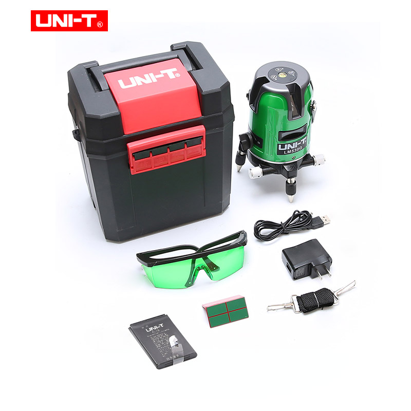 UNI-T Rouge/vert Laser Niveau 2/3/5 Lignes 360 degrés Auto-nivellement Croix rouge vert niveau laser de ligne batterie rechargeable