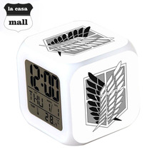 Attack on Titan LED Digital Alarm Clock Color Flash Luminous thermometer Watch  ( 14 styles)