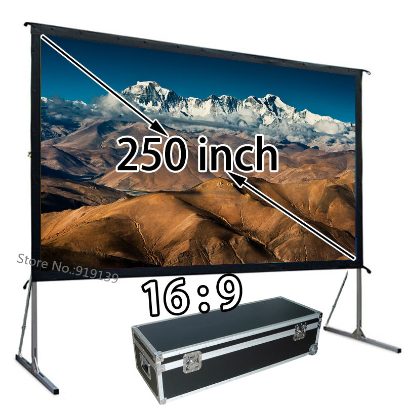 Wholesale Oversize Projector Screen 250 inch 16x9 HD Format Front Projection Screens Fast Fold With Aluminum Stand