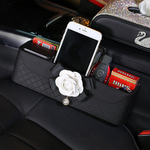 Camellia Car Seat Crevice Storage Box Leather Plaid Seats Gap Phone Card Organizers Flower Pearl Auto Seat Gap Pockets Black