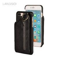 Wangcangli brand mobile case back zipper wallet case for iphone X mobile phone set all handmade custom processing