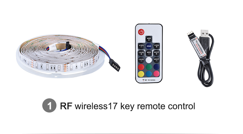 2835 SMD RGB USB charger LED Strip light DC 5V USB Cable LED Light lamp Flexible Tape 1M 2M 3M 4M 5M RF IR RGB Remote control (6)