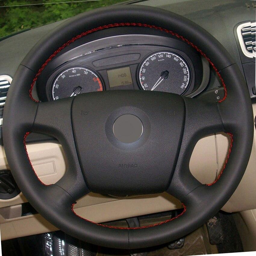 Black Leather Hand-stitched Car Steering Wheel <font><b>Cover</b></font> for Old Skoda Octavia Skoda Fabia