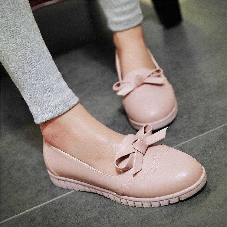 Sweet Moccasins Bow Platform Single Shoes Flat Heel Women's Shoes Plus Size Comfortable Flat Shallow Mouth moccasins topsaydery