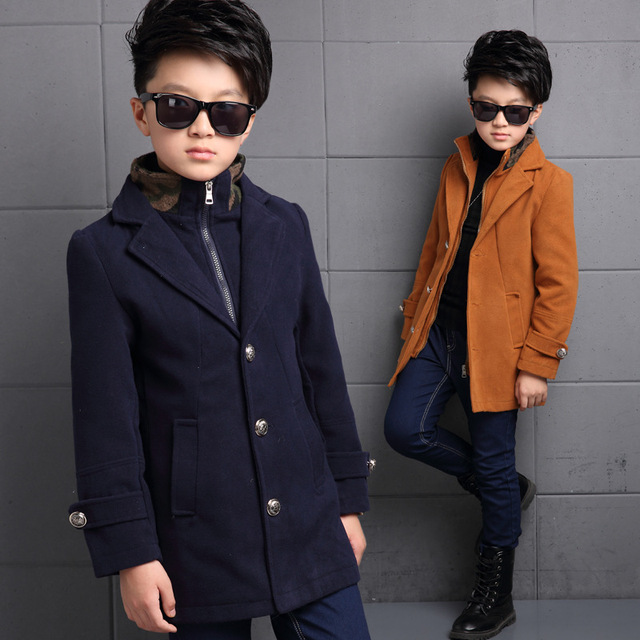 2016 Toddler Boys New Korean Style Winter Single Breasted Cotton Long Sleeve Thickening Stand Collar Fashion Long Coats
