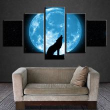 Modern Prints Wall Art 5 Pieces Moon And Animal Wolf Howling Abstract Night Scene Paintings Decor Modular Poster Canvas Pictures
