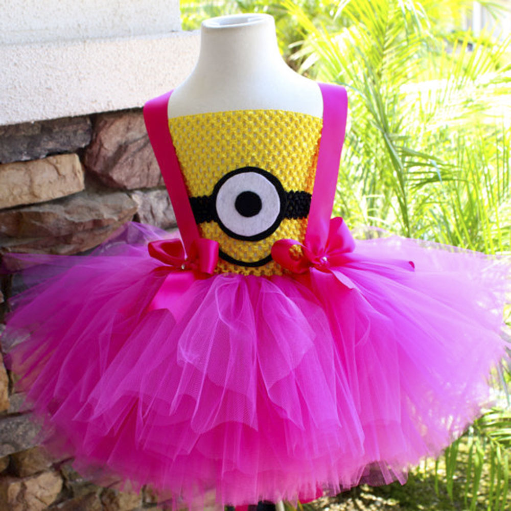 Hot Pink Minion Girl Tutu Dress Baby Girl Birthday Party Cosplay Tutu Dresses Halloween Costume Clothes Wear For Kids Photos 1set baby girl polka dot headband romper tutu outfit party birthday costume 6 colors
