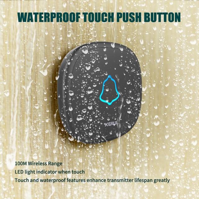 KERUI M525 Drahtlose Türklingel Wasserdicht Touch-Taste Home Security Willkommen Smart Chimes Tür glocke Alarm LED licht 32 Songs