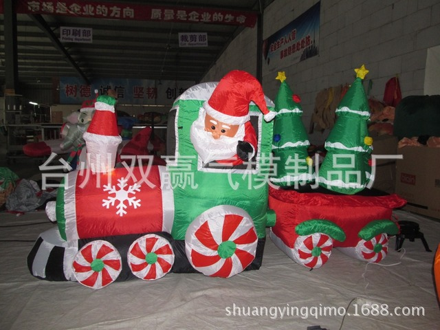 inflatable christmas train with the tree inflatable christmas toys christmas inflatables outdoor decoration - Christmas Train Yard Decoration