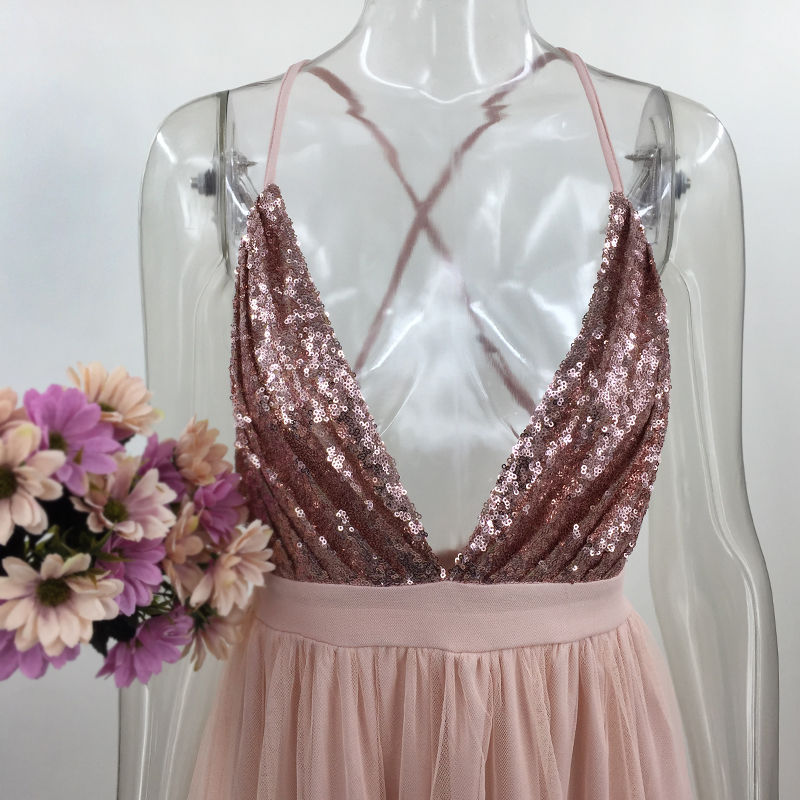 Pink Loose Sequin Deep V Strap Mesh Dress