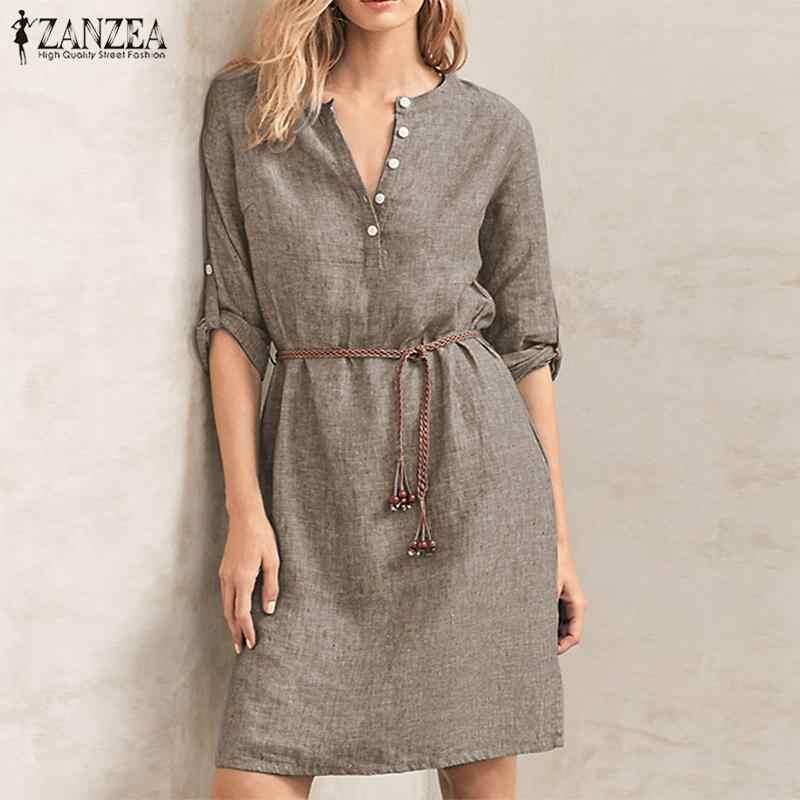 Женское элегантное платье-рубашка с длинным рукавом, ZANZEA, на осень, на пуговицах, однотонное, для работы, OL, Vestido, Robe Femme, винтажный сарафан с карманами, туника, топы