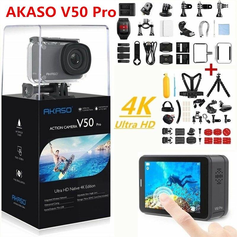 Akaso câmera de ação v50 pro 4 k 30fps tela sensível ao toque wifi controle remoto esportes vídeo filmadora dvr dv ir à prova ddv água pro câmera