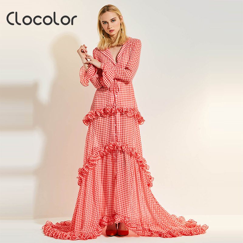 Clocolor Women Maxi dress 2018 Sweet Red Lapel Asymmetrical High Waisted Party Shopping Floor-Length Spring Summer Vintage Dress