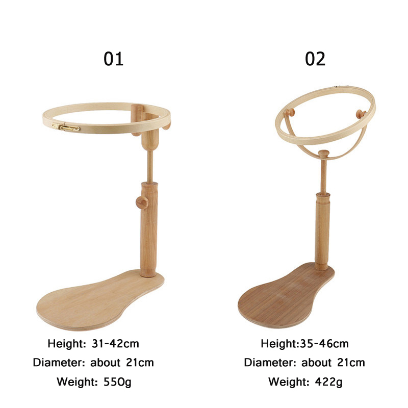 Image 2 - 1pcs Cross Stitch Hoop Set Embroidery Stand Hoop Wood Embroidery Shelf and Adjustable Embroidery Hoop Ring Frame DIY Sewing Tool-in Sewing Tools & Accessory from Home & Garden
