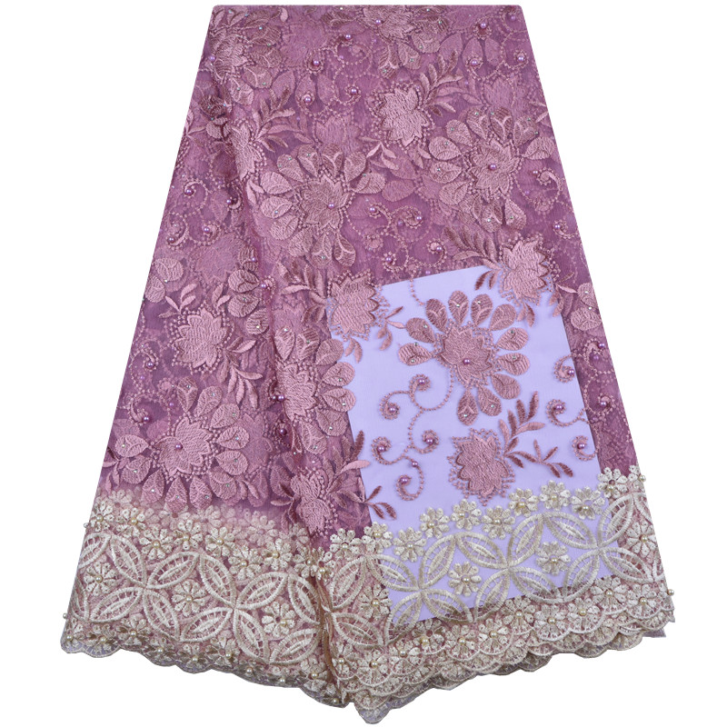 Most Popular African Tulle Lace Fabric With Stones And Beaded High Quality French Net Lace Fabric