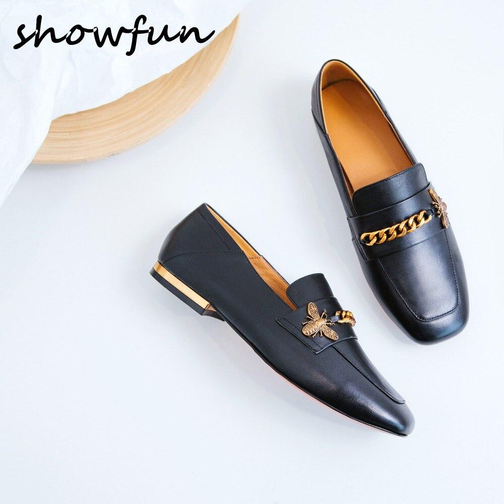 Catena ape slip-on appartamenti del cuoio genuino delle donne mocassini marca desiger punta quadrata lisure comfort mocassini calzature femminili scarpe