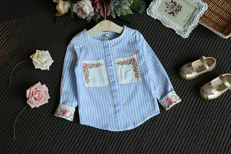 Children Girls Set Sets two pieces Kids Spring Autumn Winter tshirt + Jeans Skirt Striped sky Blue Size for 3,4,5,6,7 years old (8)