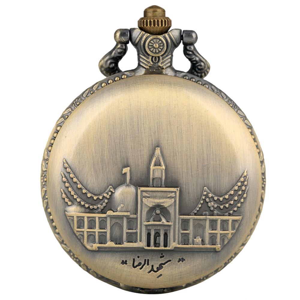 Bronze Architecture Pattern Pocket Watch Men Concise Large Quartz Pendant Watches Vintage Necklace Unisex Fob Clock