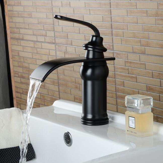 Black bronze waterfall wash basin faucet waterfall Black faucet bathroom sink tap cold and hot mixer tap basin mixer tap european style hot and cold basin faucet black faucet black ancient stage basin hot and cold waterfall faucet lu41223