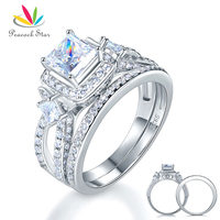 Peacock Star 925 Sterling Silver Wedding Engagement Ring Set Anniversary Art Deco 1 Ct Princess Cut