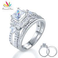 Peacock Star 925 Sterling Silver Wedding Engagement Ring Set Anniversary Art Deco 1 Ct Princess Cut CFR8271