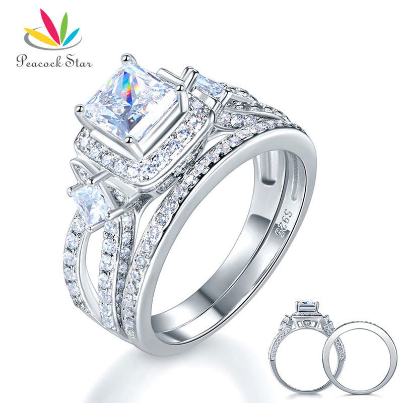 Peacock Star 925 Sterling Silver Wedding Engagement Ring Set Anniversary Art Deco 1 Ct Princess Cut CFR8271