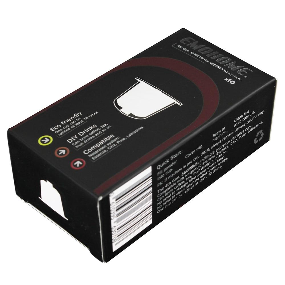 EMOHOME EM-04T 10 հատ հատ Էսպրեսոյի լիցքավորվող սուրճի պարկուճ պատիճ վերաօգտագործելի համատեղելի Nespresso մեքենաներ նորից օգտագործվող մանրածախ