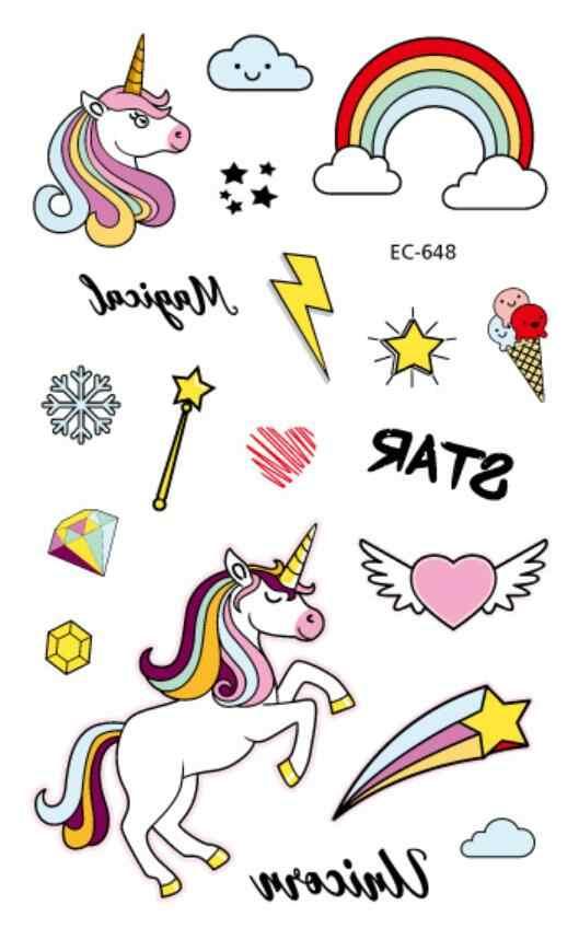 เด็ก 5pcs สติ๊กเกอร์รอยสักชั่วคราว unicorn Body Art แขน Tattoo สติ๊กเกอร์รอยสักกันน้ำ Party หมวกการ์ตูน