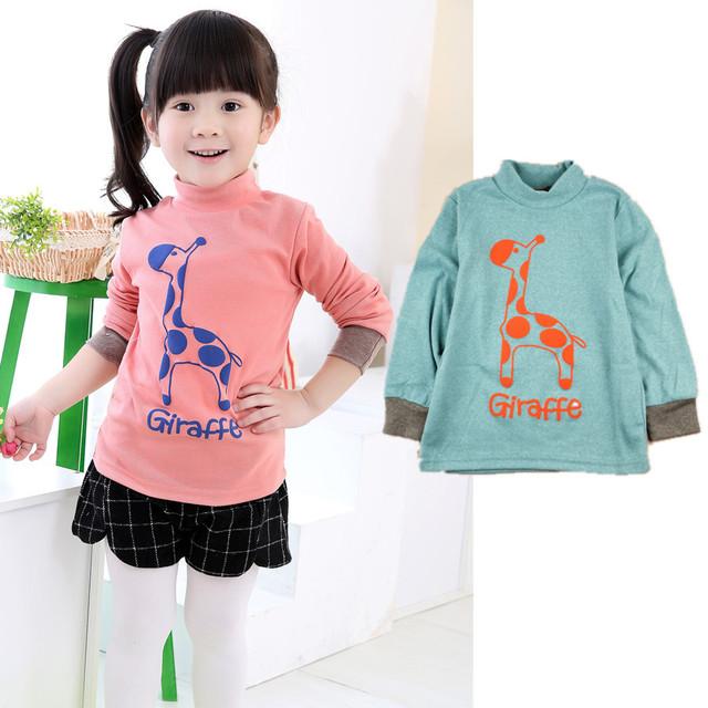 2016 marca la Primavera niñas niños sudadera de Algodón de niños ropa de bebé Cervatillo de la historieta Chándal cuello alto camisetas bebés niños tops
