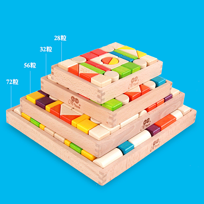 Free shipping Kids 28/32/56pcs Beech color blocks, shape of the cognitive Building blocks early wooden toys for children free ship 1 set of 100pc children kids natural wooden build blocks montessori sensorial early development educational material