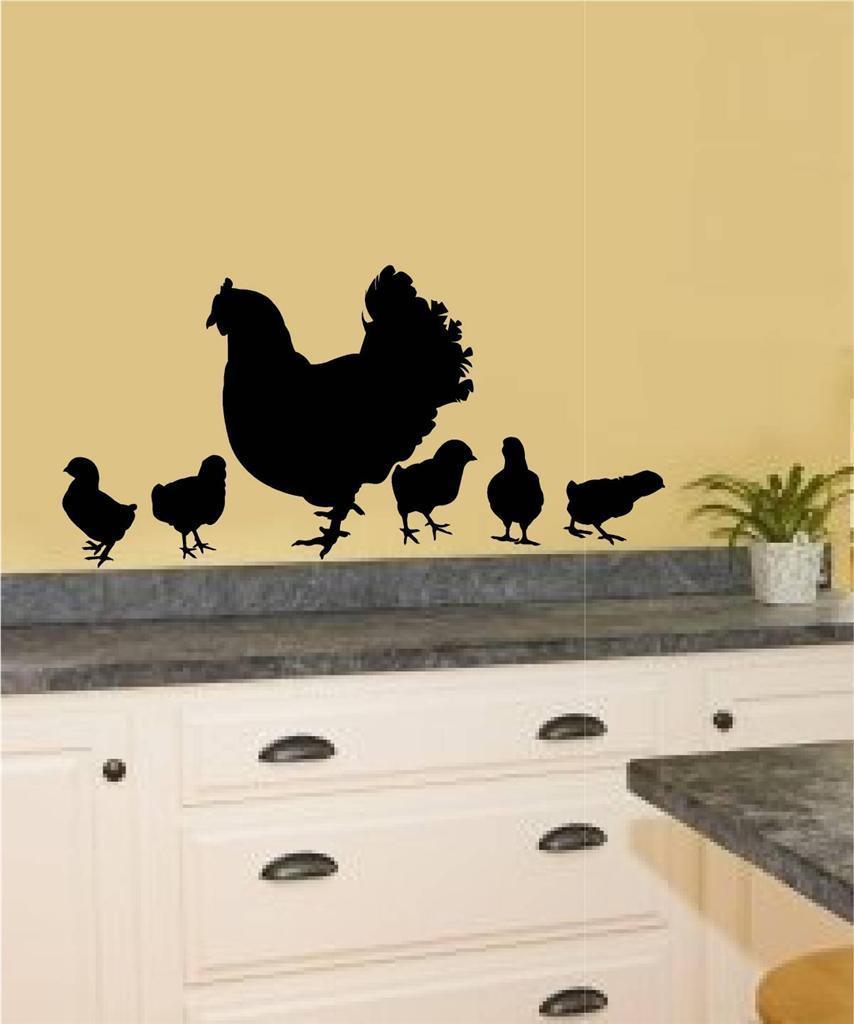 Rooster Chicken Vinyl Decal Wall Sticker Primitive Country Kitchen ...