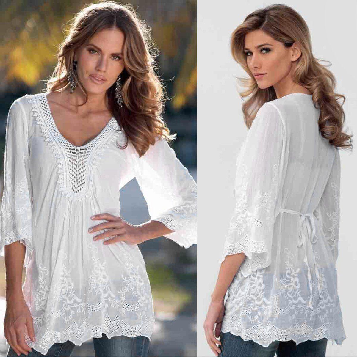 36317ee76914 Autumn Fashion Women Blouse Half Sleeve Lace Crochet Blouse Casual Loose  Floral Embroidery Tops Blouse Shirt blusas Plus