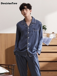 2020 chinese style sleepwear male silk full sleeve length pants pajama sets Sleepwear Pajama Sets Casual Sleep&Lounge Pyjamas