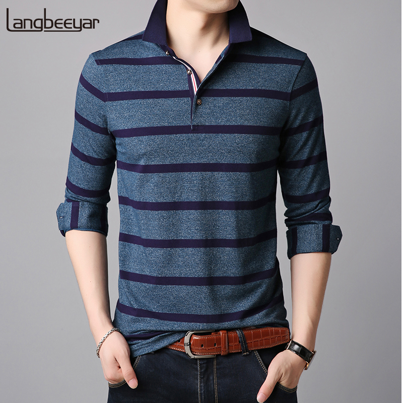 2019 New Fashion Brands   Polo   Shirts Men Boy Boys Long Sleeve Slim Fit Striped Designer Clothing   Polos   Plaid Casual Men Clothes