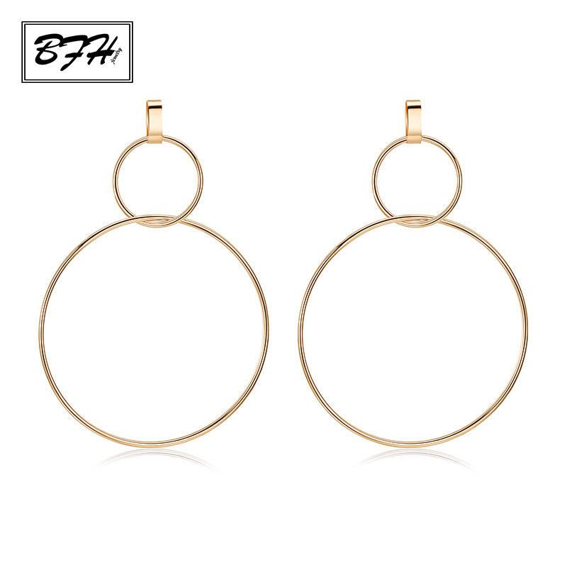 BFH Fashion Simple Silver Gold Long Hollow Big Round Drop Earrings for Women Girl Hip Hop Rock Earring Jewelry Gift Wholesale