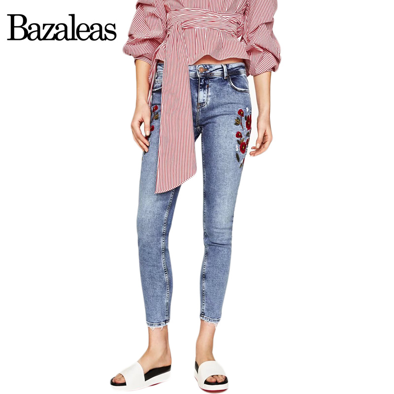 Bazaleas Flower Embroidered Mom Jeans Female Blue Casual Pants Capris Spring Pockets Jeans Bottom Casual pant flower embroidery jeans female blue casual pants capris 2017 spring summer pockets straight jeans women bottom a46