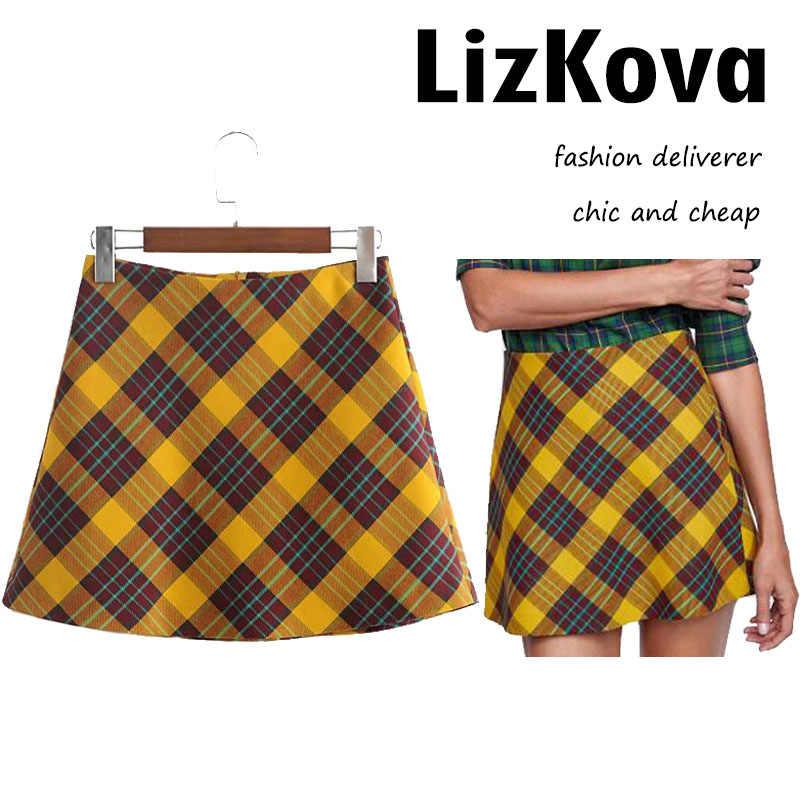 d2d213132 2018 Autumn Winter Vintage Plaid Mini Skirt A-Line High Waist Skirt Office  Lady Buttoms