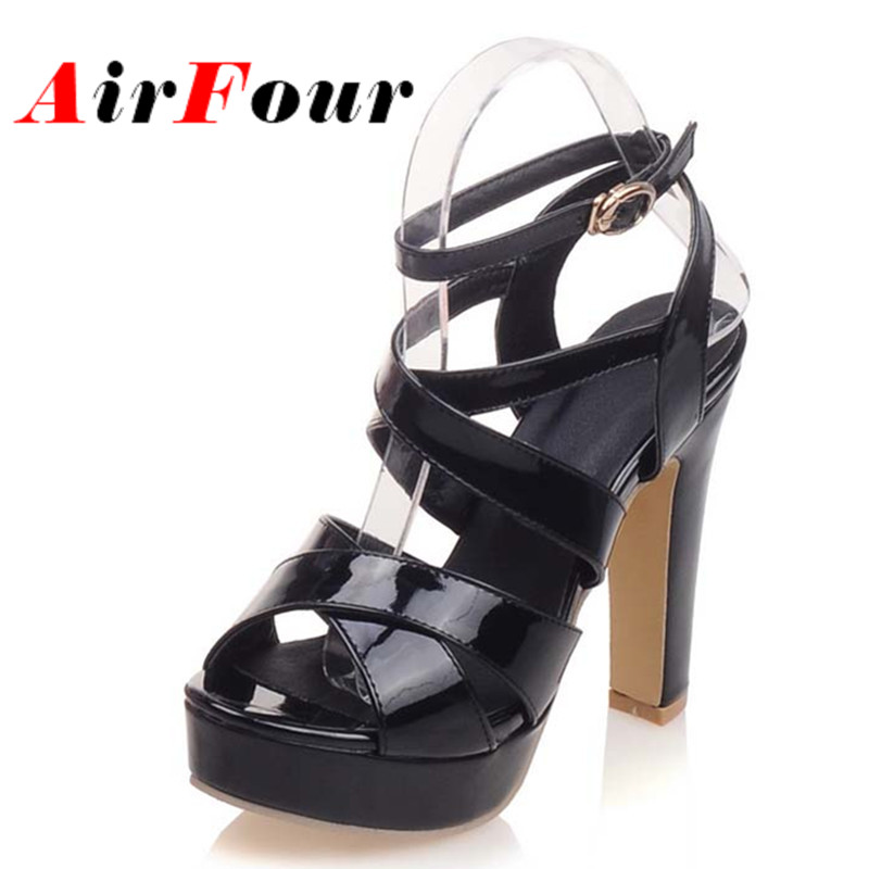 ФОТО Airfour 2016 Summer Sexy High Heel Platform Sandals Open Toe Party Shoes Women 3 Colors Fashion Gladiator Sandals Women Pumps