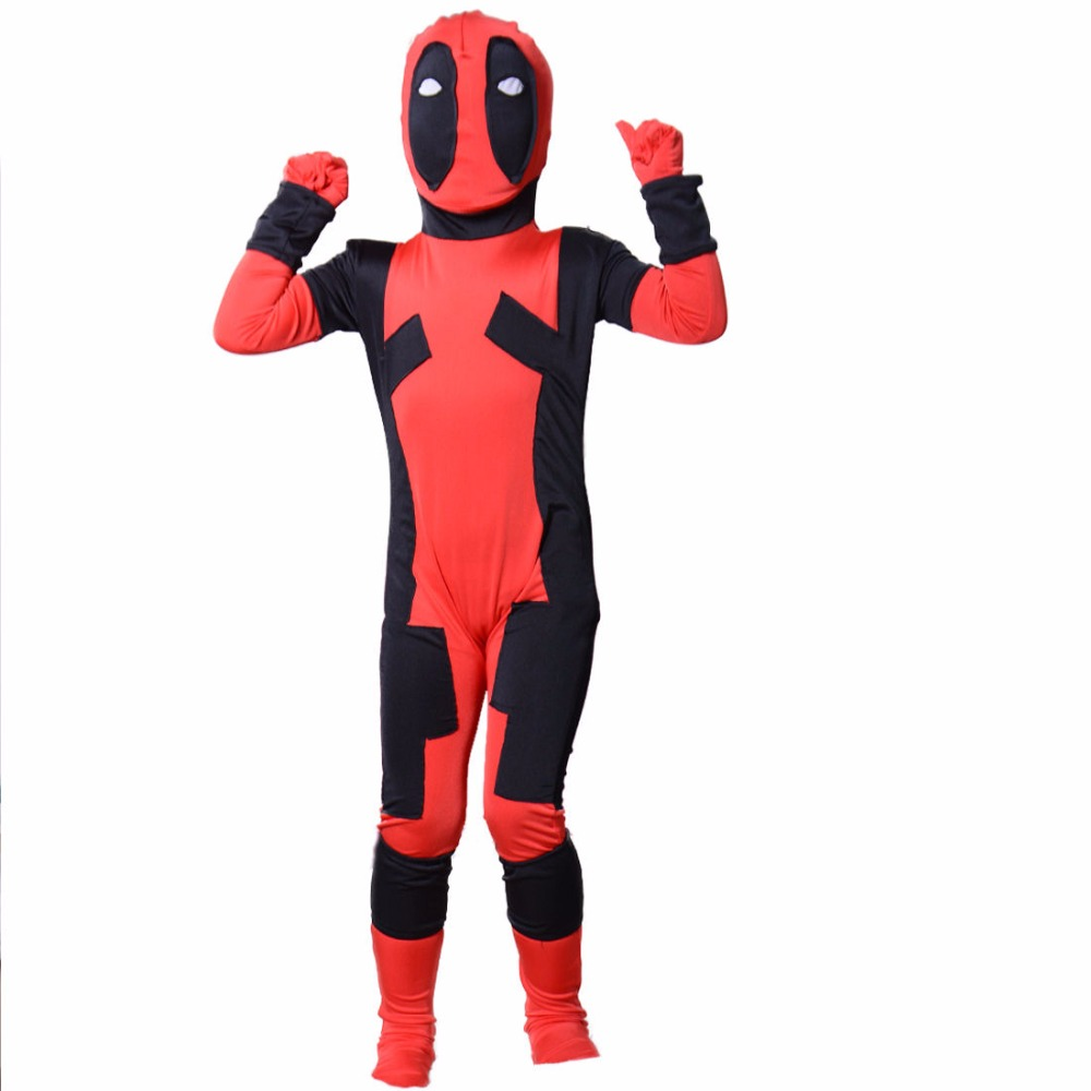 Boys Deadpool Costume Kids The Dead Pool Zip Child Full Body Zentai Suit Lycra Spandex Bodysuits For Girls